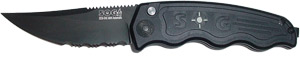 MINI SOGTAC AUTO WITH BLACK PART SERRATED BLADE